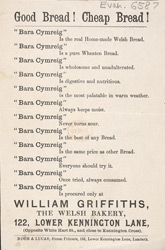 Advert for William Griffiths, baker